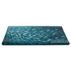 Prostírání motiv hejno ryb 44 x 28 cm petrolejová barva