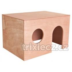 Dřevěný domek pro morčata, rovná střecha 27 x 17 x 19 cm