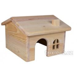 Dř. domek se sedlovou střechou pro myši a křečky 15x11x15cm
